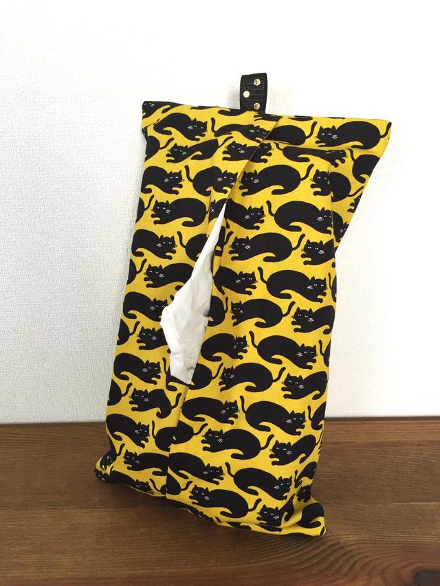 黄色いネコ柄のボックスティッシュケース