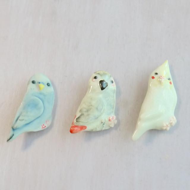 陶器の小鳥ブローチ セキセイインコor...