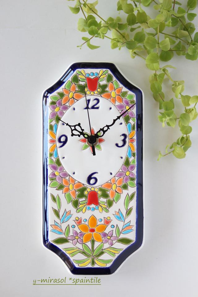 花いっぱい、スペインタイルのビスク時計(壁掛け)