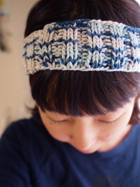 段染め綿の太めヘアバンド【ブルー系】