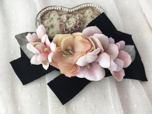 薔薇とスミレのリボンクリップ