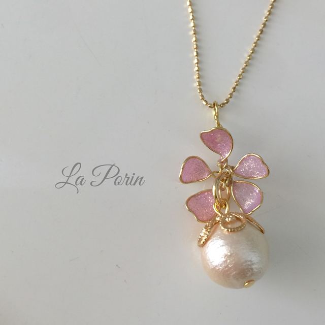 【14kgf】桜とコットンパールのネックレス