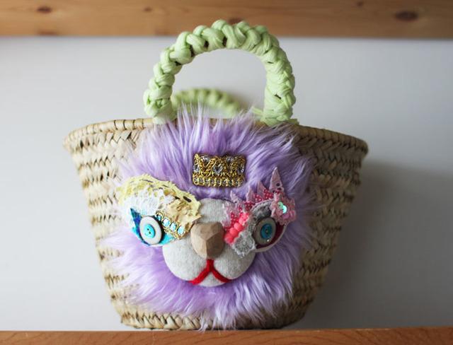<再販>lion kago bag/S purple