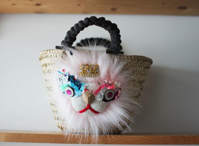 <New!>lion kago bag/S pink