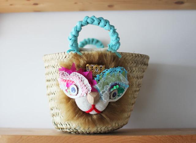 <New!>lion kago bag/S brown
