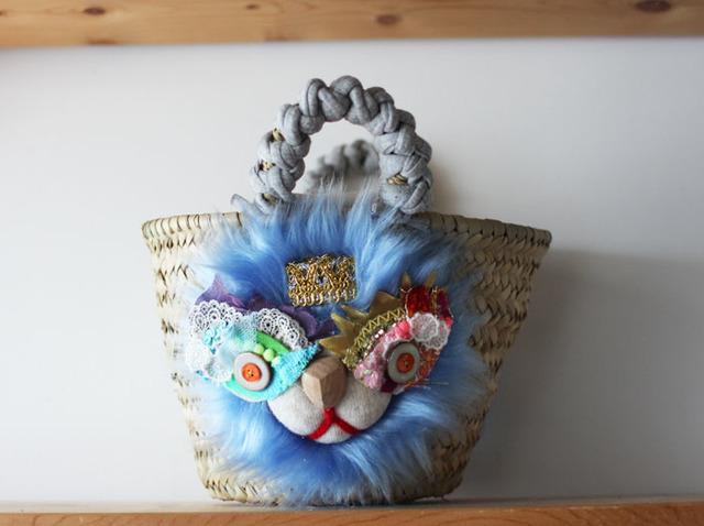 <New!>lion kago bag/S Blue