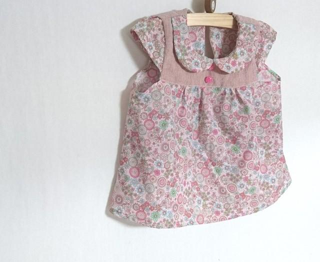 ピンクレトロ花柄ちび襟チュニック120