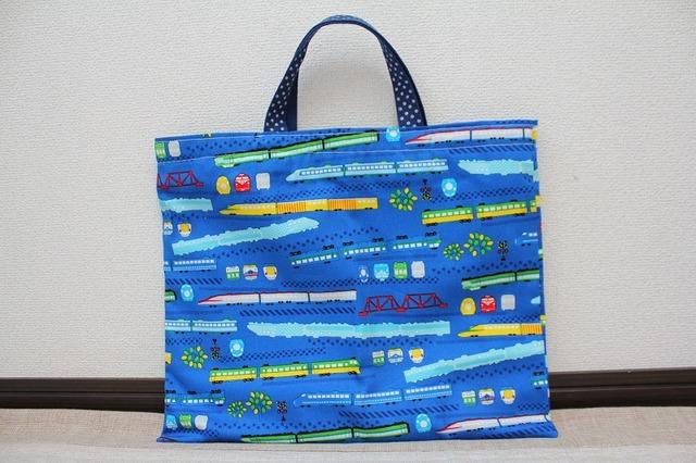 絵本袋 レッスンバッグ (新幹線青地)