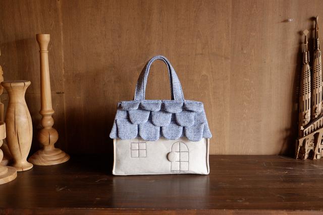 OUCHI box bag S  水色屋根+生成り