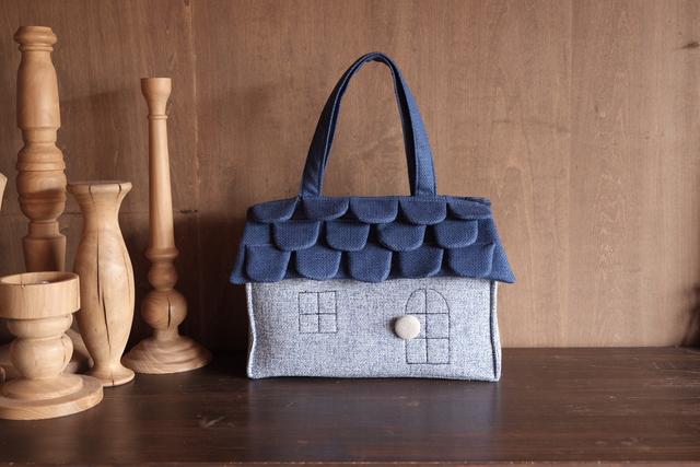 OUCHI box bag L  ブルー屋根+水色コ...