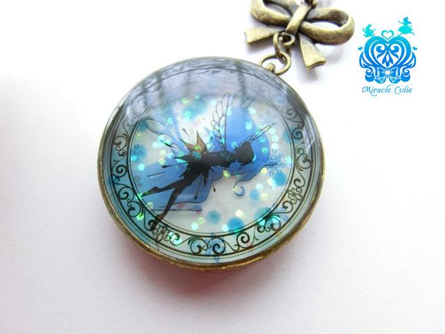 (夜光)雪の結晶入り妖精のペンダント