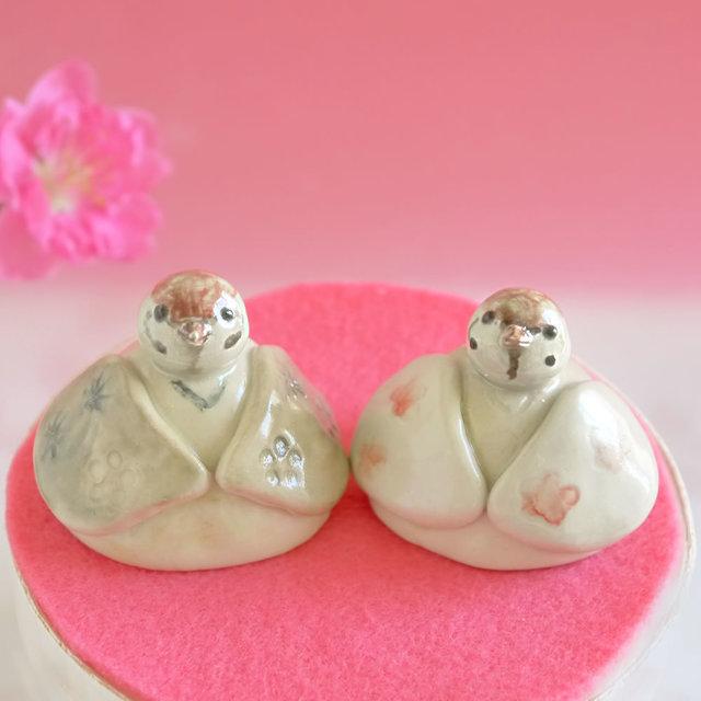 スズメのお雛様(鳥の陶器雛)