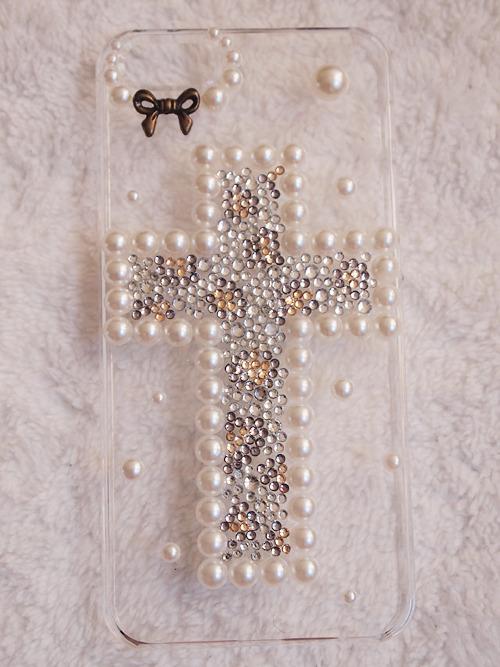 iPhone5ケース ヒョウ柄十字架 透明