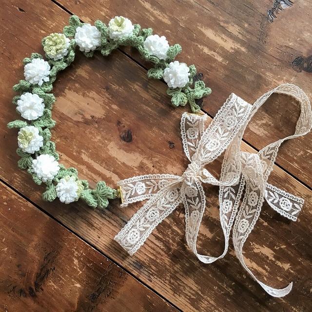 白詰草の頃 花冠 ホワイトxグリーン