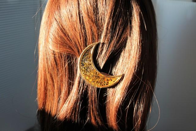 月と星のヘアクリップ