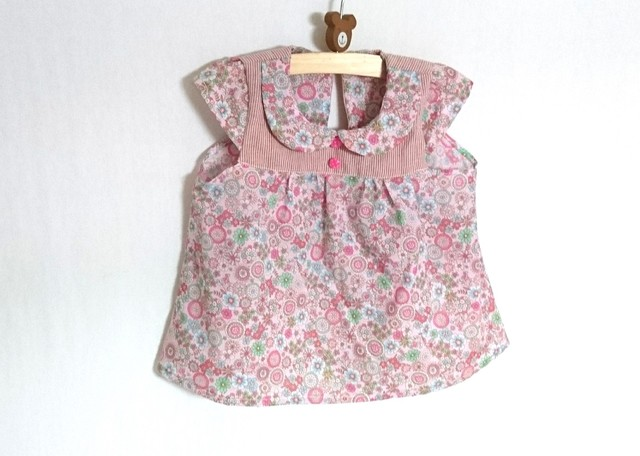 ピンクレトロ花柄ちび襟チュニック90