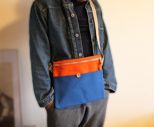 帆布サコッシュ Blue x Orange