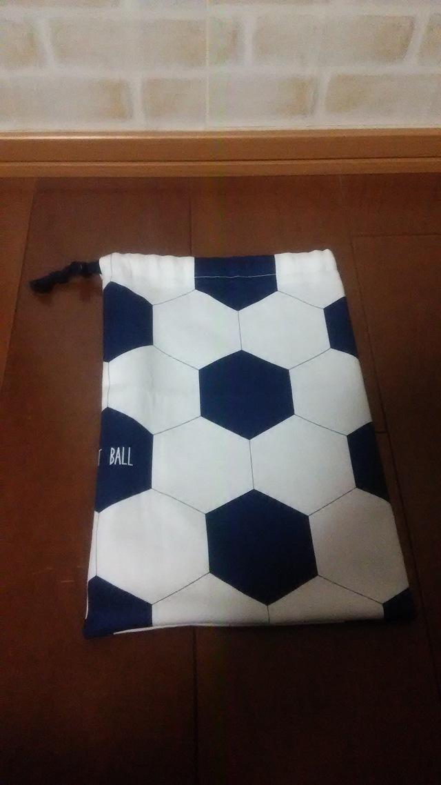 巾着袋(裏地付) 長方形(サッカーボー...