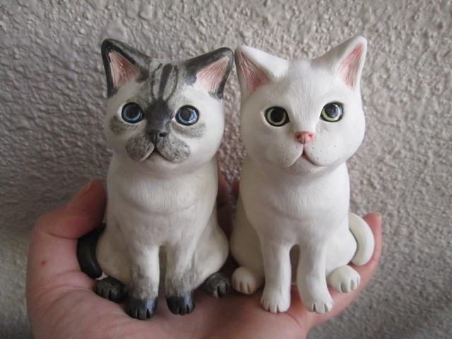 *ご予約品*猫の置物(シャム・白)
