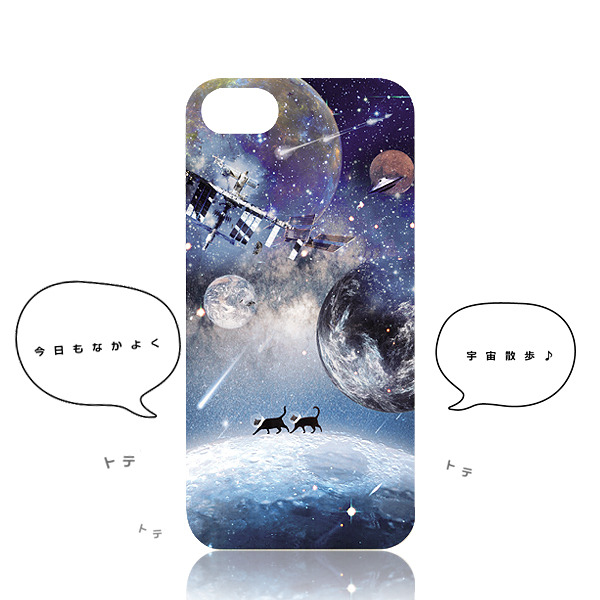 iphone ケース 宇宙おさんぽネコ