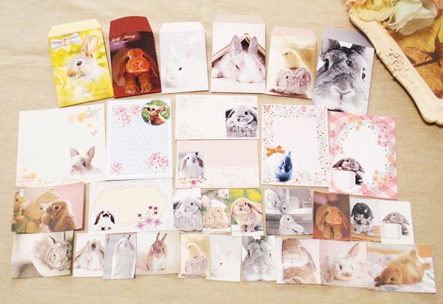 写真全部セット★うさぎポチ袋&カード&シール★