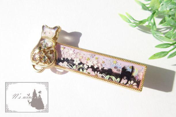 桜と猫のヘアクリップ