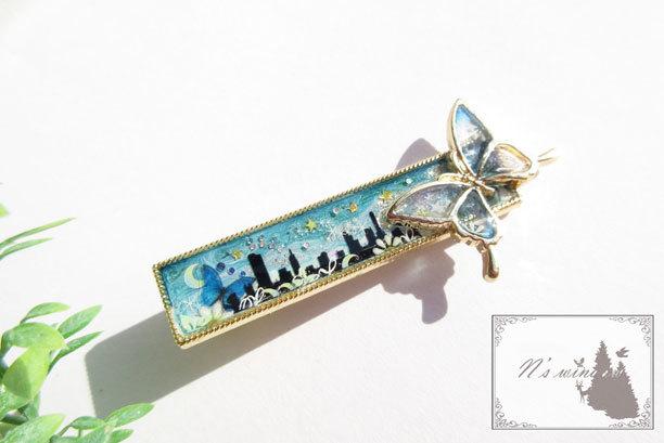 夜露と蝶のヘアクリップ