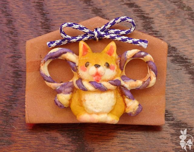 絵馬ブローチ 柴犬(紫)*おみくじ付き