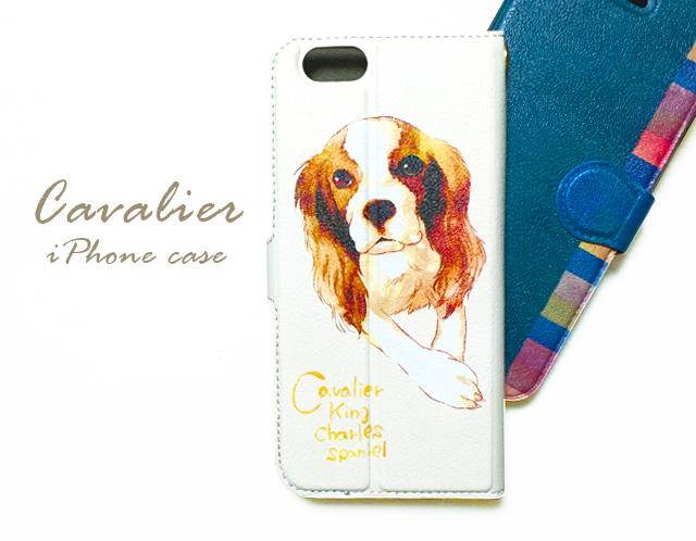 キャバリア柄のiPhoneケース〈手帳型〉