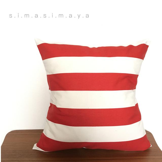しましまのクッションカバー 赤×白
