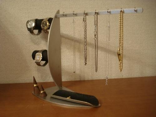 誕生日プレゼントに!ネックレス7本、腕時計3本、リング2ヶブラックアクセサリースタンド