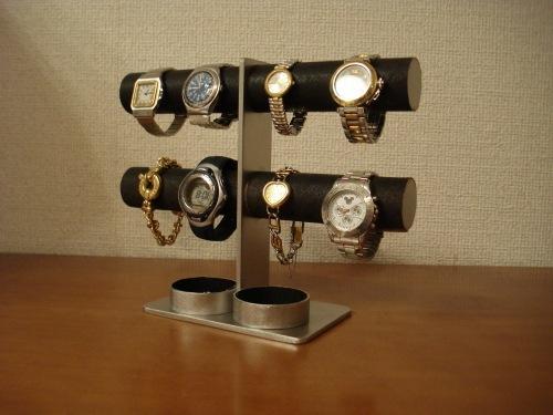 ダブル丸トレイブラック2段8本掛け腕時計スタンド
