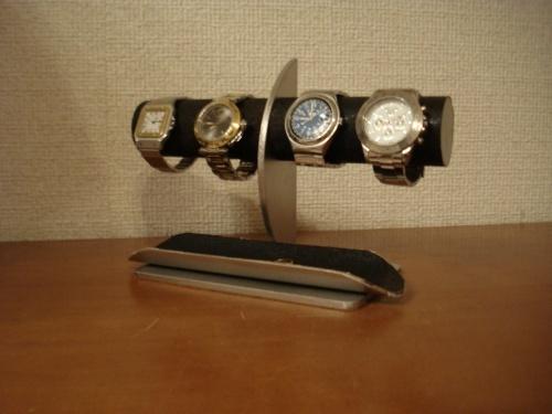 4本掛けロングハーフパイプトレイ三日月ブラック腕時計スタンド