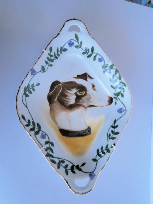 グレードハウンド犬の絵皿