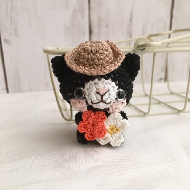 【受注生産】小さなお花・黒猫さん・帽...
