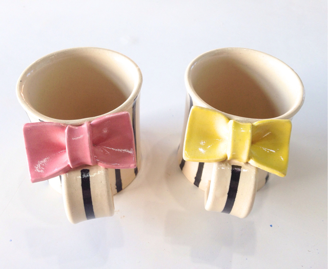 りぼんマグカップ   ピンク・黄色 筒型 ...