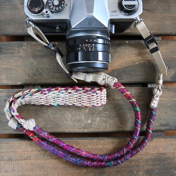 Crazy-color麻紐ヘンプカメラストラップ(ベルト)