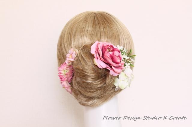 和装髪飾り:ラナンキュラスと春のお花...