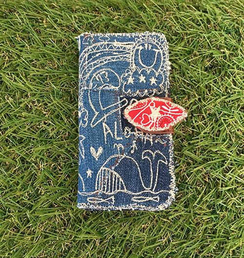 デニムクジラ刺繍スマホケース(iphone6...