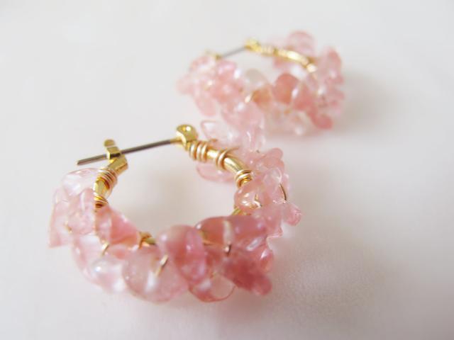 桜色チェリークォーツのチタンフックフープピアスorイヤリング