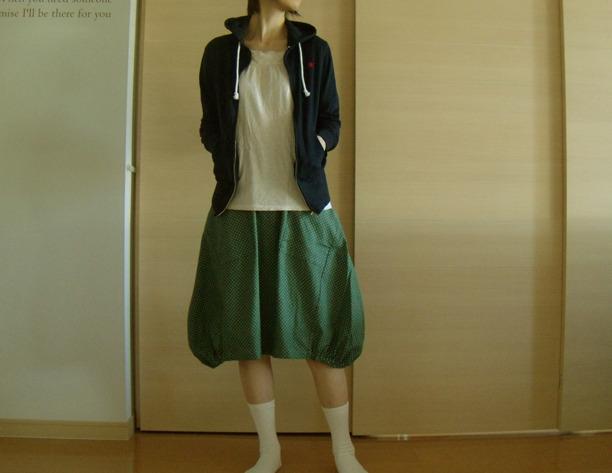送料無料*ビエラドットのふんわりバルーンスカート(ビリジアン)