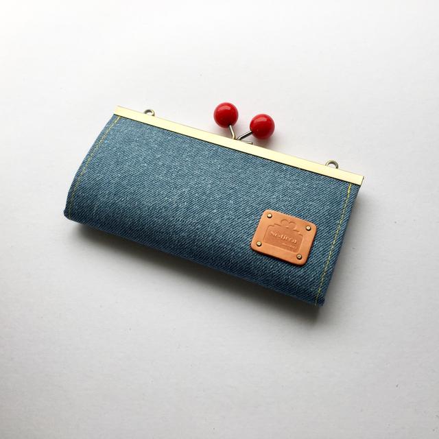 2WAY見せ財布★デニムブルーがま口長財布
