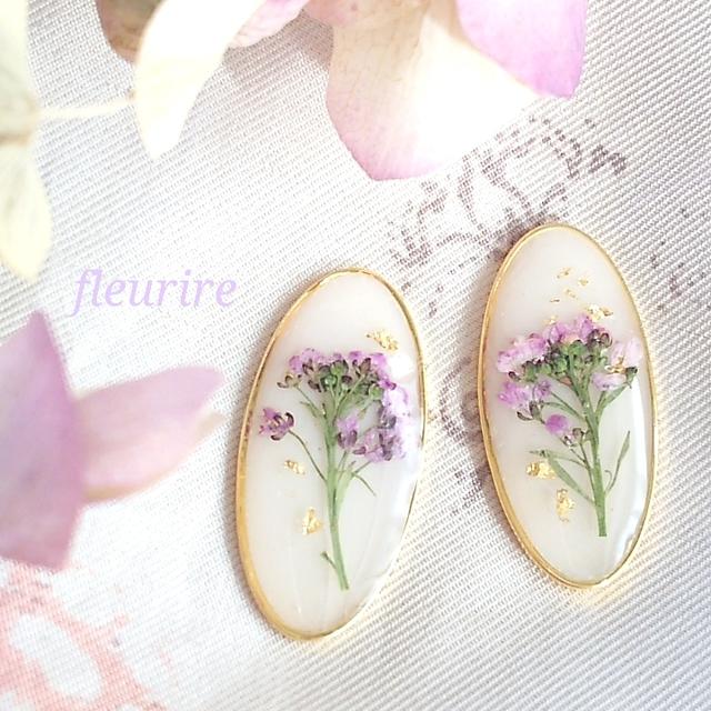 春の花シリーズ♡アンティーク風レジンアクセサリー♡アリッサムと金箔のプチピアス/イヤリング