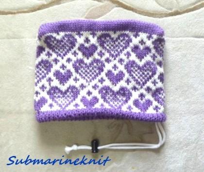 ハート柄の手編みアイアインカバー