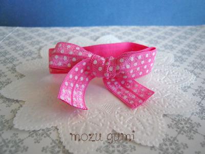 リボンヘアタイ(濃いピンク×白水玉)