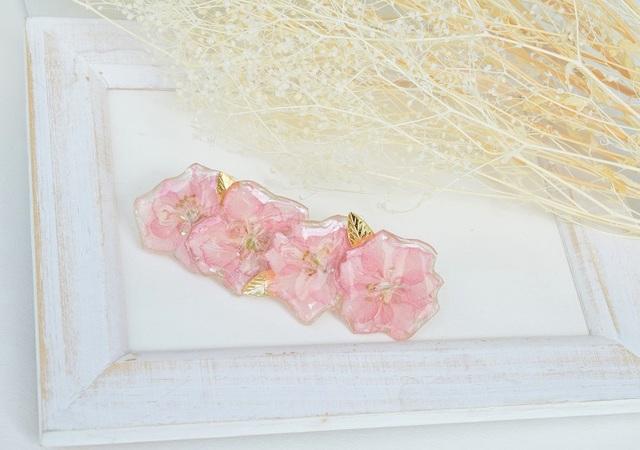 さくら色の押し花バレッタ