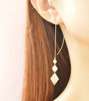 rhombus pierced earrings