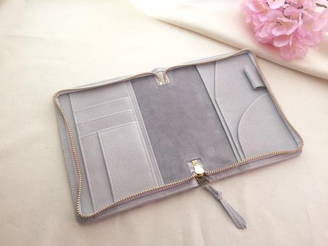 春色淡いグレーの文庫本サイズ手帳ケース