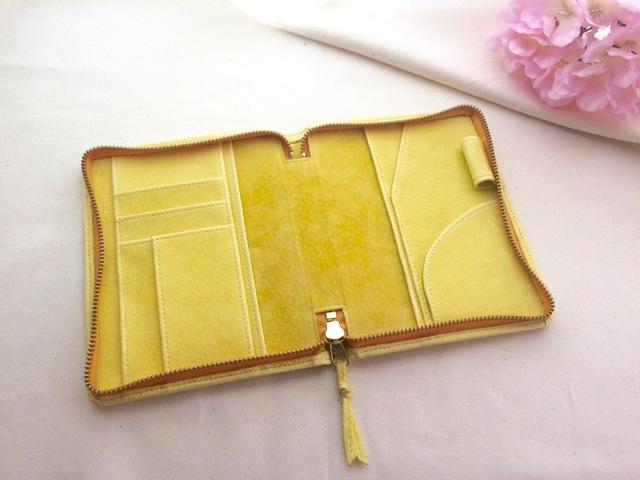 春色淡い黄色の文庫本サイズ手帳ケース