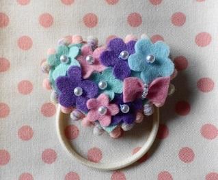 ?お花のハートヘアゴム?紫陽花カラー
